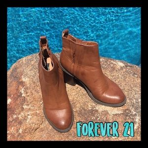 Pre-loved Forever 21 brown pull on ankle boots